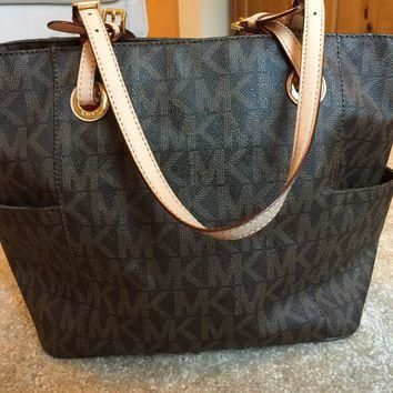 Michael Kors Brown MK PVC Large Tote Shopper Bag