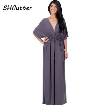 Women Long Dresses Summer Sexy Plunge V-neck Party Dress Batwing Sleeve Elegant Maxi Dresses