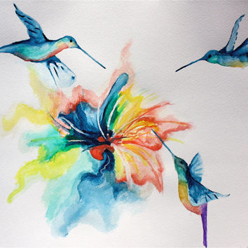 Nature At It's Best original watercolor painting of hummingbirds and flower