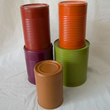 Assorted Sizes and Colors Tin Cans Rustic Western Barn Wedding Centerpieces Table Vases Upcycled Repurposed