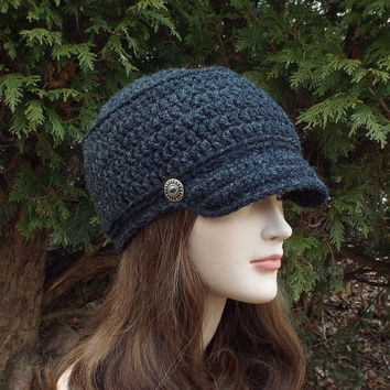 Dark Charcoal Gray Cadet Hat - Womens Crochet Military Cap with Metal Buttons