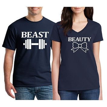 Matching Couples Shirts - Beauty Beast Honeymoon Vacation T Shirts.