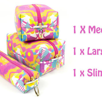 Make up bag set of 3. Including - large, medium and slim in exclusive Punto Belle fabric 'Circus'