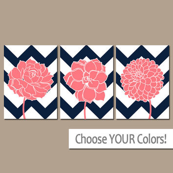 CHEVRON Flower Wall Art, CANVAS or Prints CORAL Navy Bathroom Artwork, Coral Bedroom Pictures, Succulent Flower Dahlia Set of 3 Home Decor