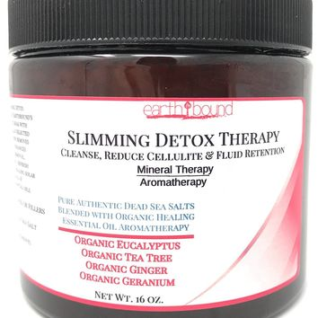 SLIMMING DETOX THERAPY / 100% Pure Authentic Dead Sea Spa Quality Bath Salts / Cleanse, Reduce Cellulite & Fluid Retention / Organic Essential Oils of Eucalyptus, Tea Tree, Ginger and Geranium - 16 oz