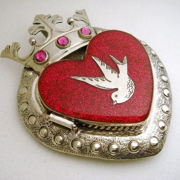 Silver Crowned Sacred Heart Locket Pendant with Swallow Bird, Fuchsia Glitter, Resin and Pink Swarovski Crystals