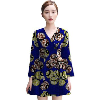 Elegent women african trench africa print dashiki clothes custom outwear tailoring exquisite design fashion overcoat clothing
