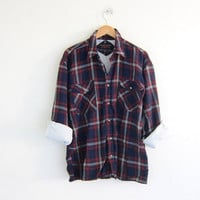 Vintage Plaid Flannel Shirt Jacket / Insulated Grunge Shirt / Button up shirt / men's size L