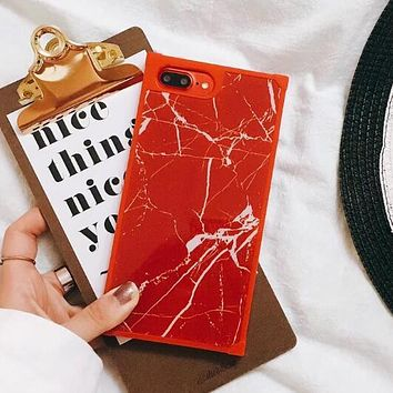 Classic Popular Simple Marble Pattern iPhone Phone Cover Case For iphone 6 6s 6plus 6s-plus 7 7plus iPhone 8 8 Plus Soft Shell Red I13216-9