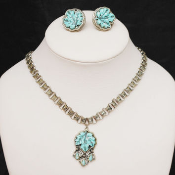 Turquoise Maple leaf - Necklace Bracelet and earring set - Vintage plastic - silver book chain necklace-screw back earrings