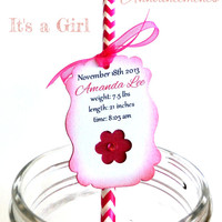 CUSTOM Birth Announcement - Straw and Personlized Tag Favor - Its a girl paper straw