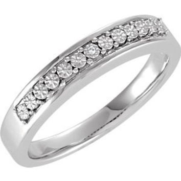 Sterling Silver .003ctw Diamond Wedding Band, Size: 9