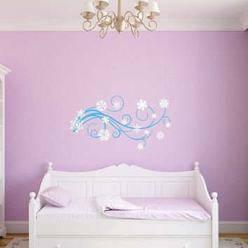 Vinyl Wall Decal Snowflakes and Swirls Girls Room Winter Themed Nursery Decor 22388