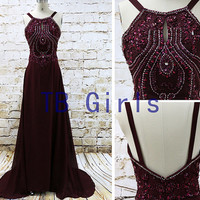Discount Gorgeous Chiffon Crystal Scoop Burgundy Prom Dress Beading Long Evening Prom Dress Sweep Train Women's Formal Party Dress