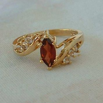 Red Topaz Navette Rhinestone Cocktail Ring Size 6.5 Clear Crystals Korea Jewelry