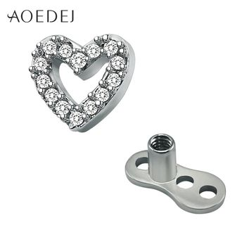 AOEDEJ Crystal Heart Micro Dermal Anchor Titanium Skin Diver Piercing Jewelry Stainless Steel Dermal Piercing Jewelry Rhinestone
