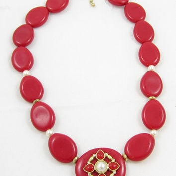 Signed ART red bead necklace/ ART jewelry/ red necklace/ red lucite necklace/ red choker/ vintage jewelry/ estate jewelry/ red plastic