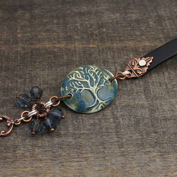 Life tree bracelet, blue ceramic, black leather, mixed metal copper silver, vintage glass 7 3/4 inches