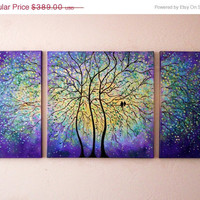 commission Large Original oil  Painting modern  impasto impressionistic- Purple-yellow- green trees and love birds- 48 x24 by Vadal