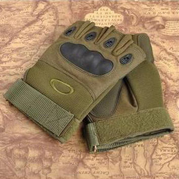 Green Military Cycling Half-Finger Gloves
