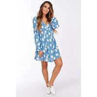 Take Me To The Beach Floral Dress (Blue/Ivory)