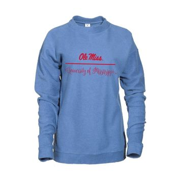 Blue Official NCAA University Of Mississippi Rebels Ole Miss Hotty Toddy Women's Herrington Crew Neck SweaT-Shirt