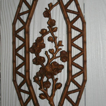 Syrocco Asian Cherry Blossom Bamboo Faux Bois Wall Plaque 1977