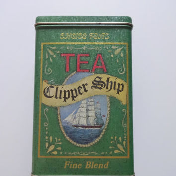 Vintage Clipper Ship Tea Metal Tin 1980s