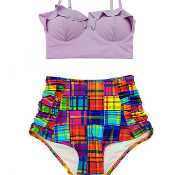 Lavender Lillac Midkini Top and Colorful Plaid Ruched High Waisted Waist Shorts Bottom Bikini set Swimwear Swimsuit Swim suit suits wear S M