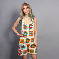 70s OVERALLS Romper / Crochet Granny Square Low Back Playsuit, xs-s
