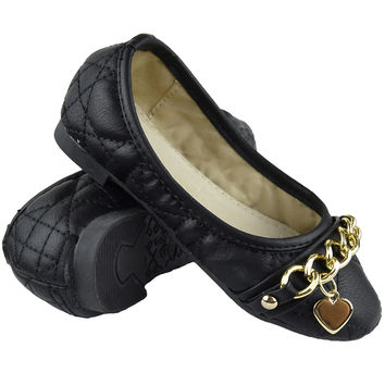 Girls Heart Charm Quilted Ballet Flats Black