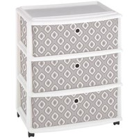 Homz Expressions Wide Cart with 3 Mint Blue Fabric Drawers - Walmart.com