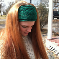 Hair Band Knitted Lacey Green Wool St. Patrick's Day gift