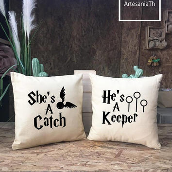 She's a Catch He's a Keeper Harry Potter Pillow cover Set, Cushion cover, couple Gifts, Wedding Gift, Anniversary Gift, Valentine's Day Gift