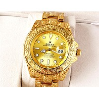 ROLEX Tide brand carved men and women models wild quartz watch Gold
