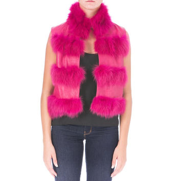 Catherine Malandrino Womens Leather Rabbit Fur Casual Vest