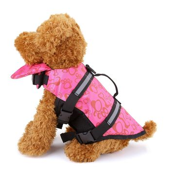Dog Life Jacket High Visibility Colors Multiple Reflective Strips