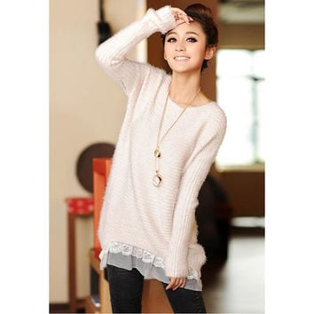 White Lace Hem Long Sleeve Knitted Sweater