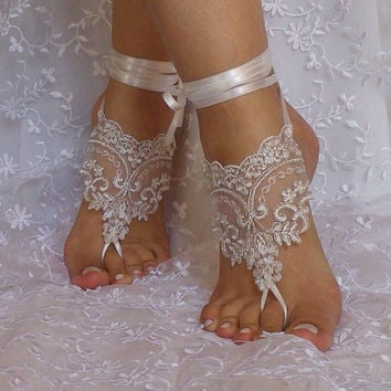 ivory silver cord beach wedding barefoot sandals bridal lace shoe woman accessories bridesmaid gift woman shoes