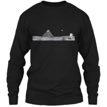 Pyramid on the Moon Conspiracy  - Ancient Alien Tee LS Ultra Cotton Tshirt