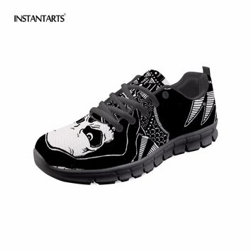3D Sugar Skull Punk Woman Casual Breathable Lace Up Shoes