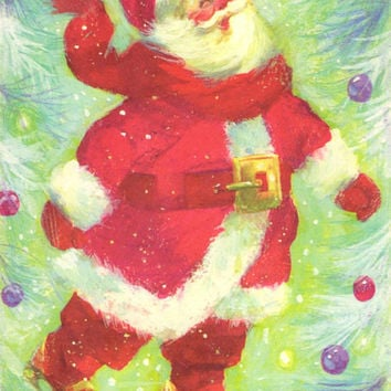 Vintage Watercolor Santa Card - Unused Greeting Card - Christmas Card - Brookline Bapco - Holiday Greetings - Colorful Santa Claus