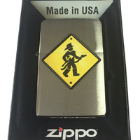 Zippo Custom Lighter - Firefighter Street Sign Brushed Chrome 200-CI011418