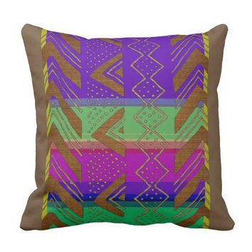 Abstract African Tribal Graphic Throw Pillow