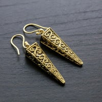 Solid Brass Carved Spike Earrings