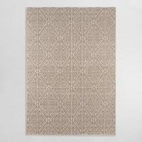 Taupe Geometric Lattice Bali Indoor Outdoor Rug