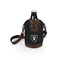 Oakland Raiders - Insulated Growler Tote with 64-oz. Glass Growler (Black)