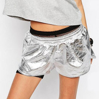 Adidas Women Running Leisure Sport Silver Shorts