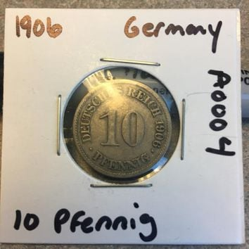 1906 German Empire 10 Pfennig Coin A0004