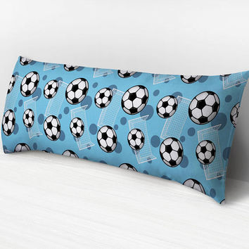 Blue Soccer Body Pillow -  Soccer Ball and Goal Pattern on Blue - 20 x 54 Body Pillow or Body Pillow Cover - Made to Order